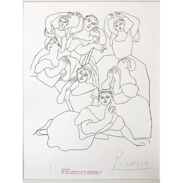 """Abstract Picasso Pencil Signed Edition Lithograph """"Seven Ballerinas"""" 1969 For Sale - Image 3 of 6"""