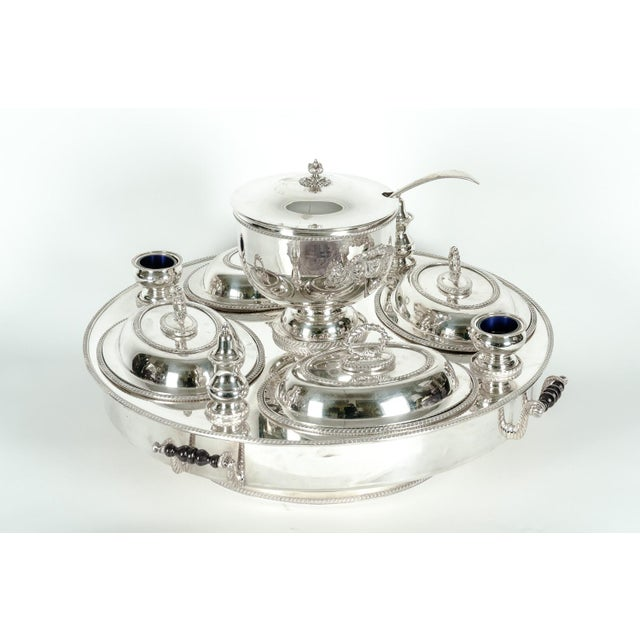 Very large English silver plated / copper revolving center table serving dish. This piece is just exquisite, each piece is...