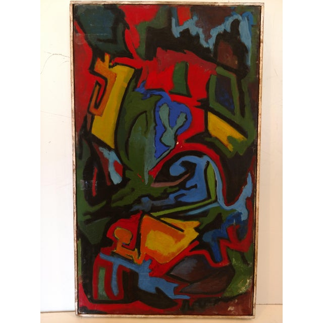 Blue Edgar W. Johnson Mid-Century Abstract Painting For Sale - Image 8 of 8