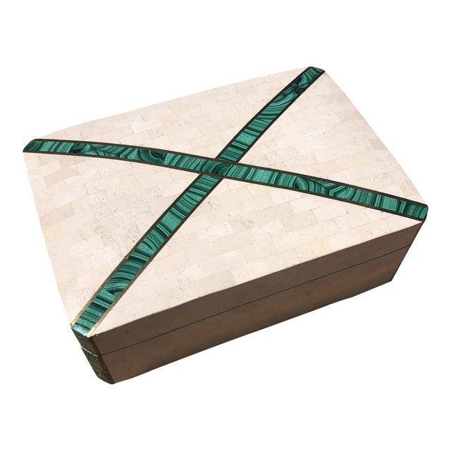 Postmodern Tessellated Travertine with Malachite Inlay Jewelry Box For Sale