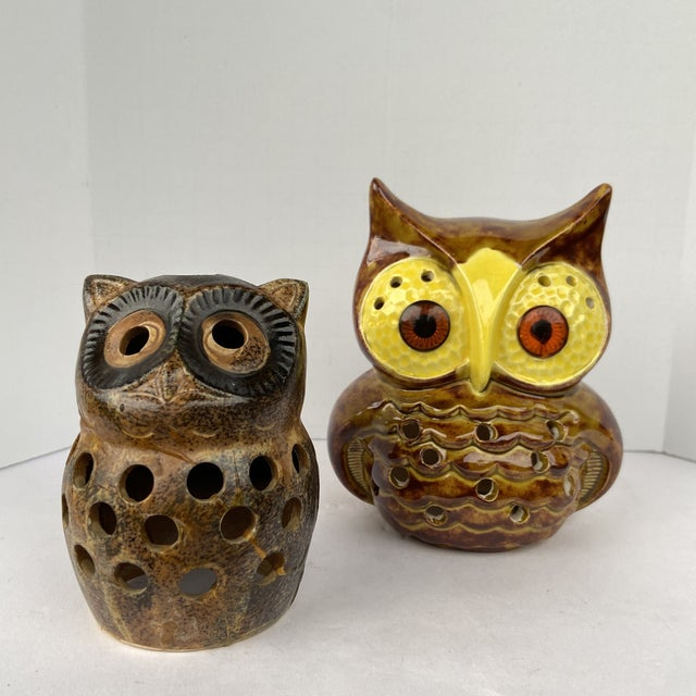Mid Century Owl Votive Holders - A Pair For Sale - Image 12 of 12
