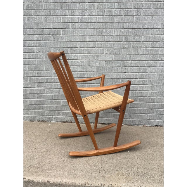 Mid 20th Century Danish Modern Corded Seat Teak Rocking Chair For Sale - Image 5 of 8