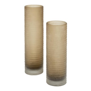 Murano Glass 'Battuto' Smoked Vases - a Pair