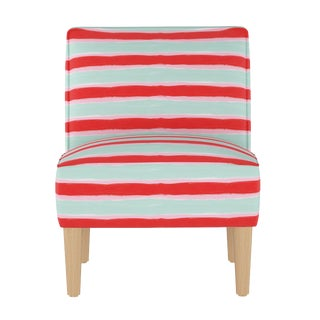 Armless Chair in Brush Stripe Mint Oga For Sale