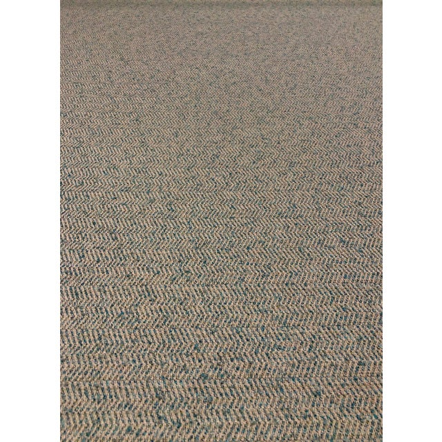 Modern Herringbone - Linen / Turquoise Upholstery Fabric - 10 Yards For Sale - Image 4 of 4