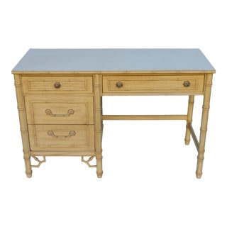 1960s Hollywood Regency Thomasville Faux Bamboo Writing Desk For Sale