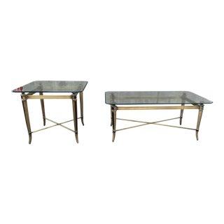 Jansen Style Beveled Glass & Brass X-Stretcher Tables - a Set For Sale
