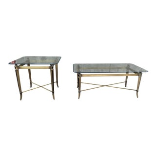 Vintage Regency Beveled Glass & Brass X-Stretcher Tables - a Pair For Sale