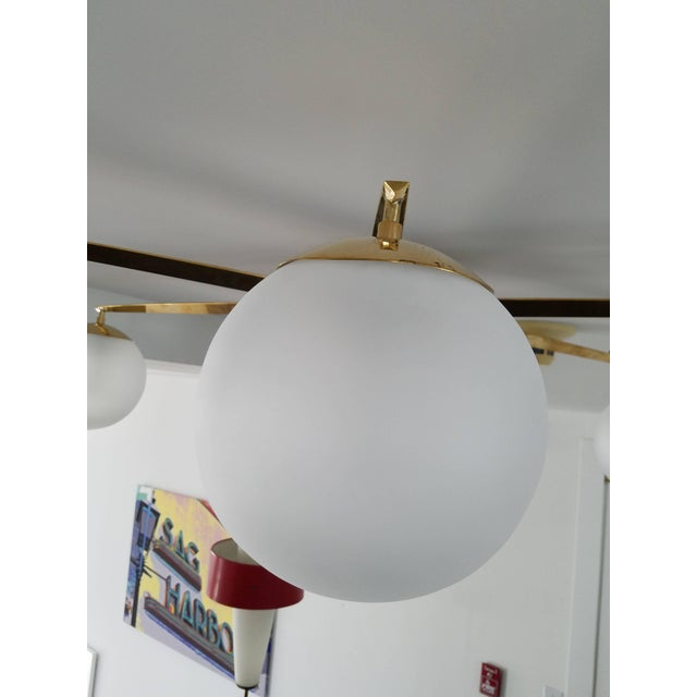 Arredoluce Style Six-Arm Flush Mount Chandelier For Sale In New York - Image 6 of 7