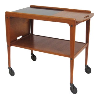 Yngve Ekström Teak Serving Cart with Sliding Drop Leaf Top For Sale