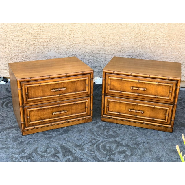 1960s 1960s Vintage Faux Bamboo Nightstands- A Pair For Sale - Image 5 of 6