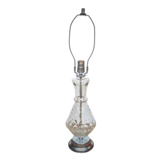 Vintage Hollywood Regency Style Bubble-Textured Clear Glass with Chrome Accents Table Lamp For Sale