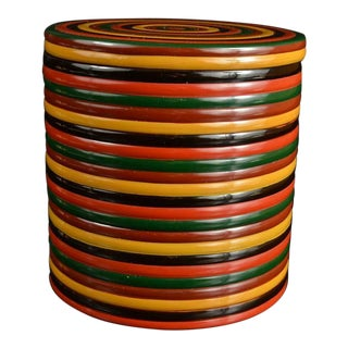 Japanese Wood Three 3 Tiered Lunch Box Wood Lacquer Round Multicolored Red Yellow Green Black Antique Vintage For Sale