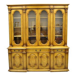 Karges Italian Provincial Large Fruitwood Burlwood Breakfront China Cabinet For Sale