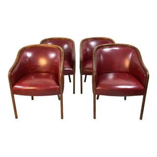 Vintage Barrel Back Club Dining Chairs by Leathercraft—Set of 4 For Sale