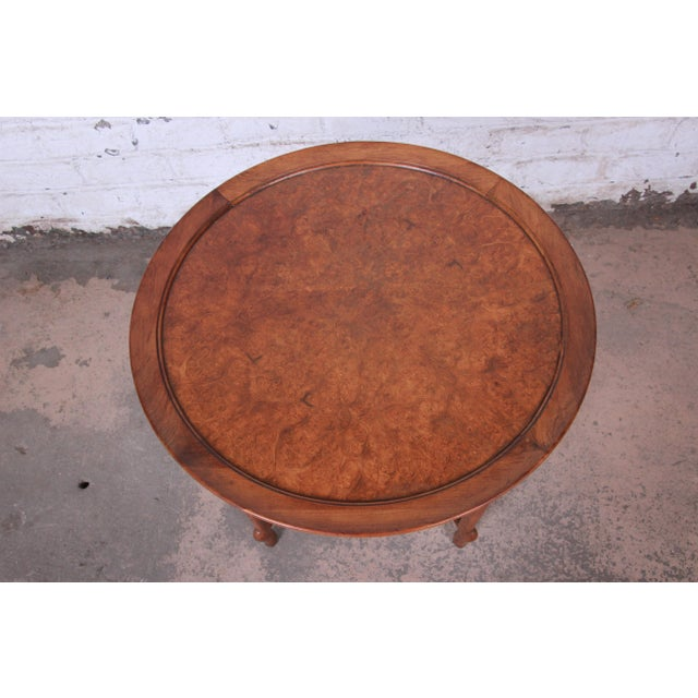 Baker Furniture Company Michael Taylor for Baker Far East Collection Walnut and Burl Wood Occasional Table For Sale - Image 4 of 11