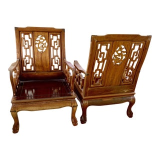 Midcentury Carved Fruitwood Ming Club Chairs, a Pair For Sale