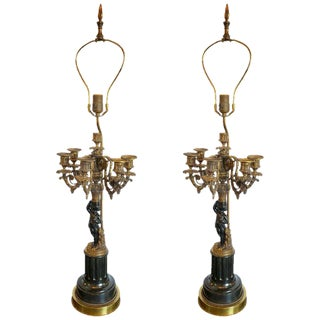Pair of Antique Bronze Cherub Candelabras on Marble Vases With Custom Shades