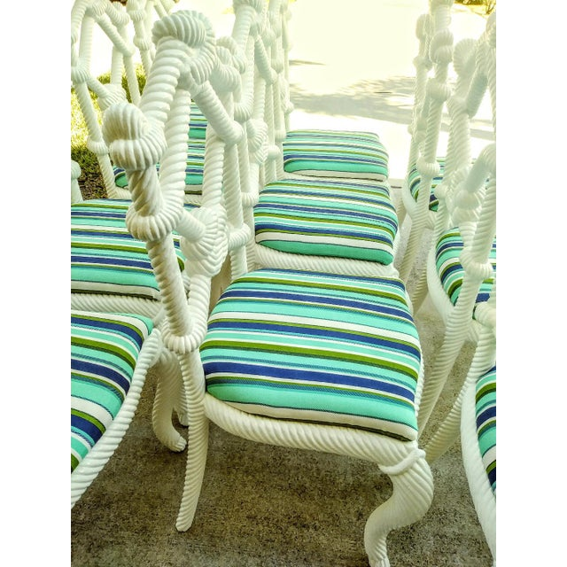 Set of 10 Stunning Gloss White Rope Knot Nautical Coastal Twisted Dining Room Chairs W/Blue Striped Fabric For Sale In West Palm - Image 6 of 11