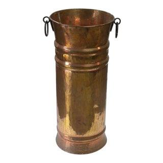 1960s Vintage Brass Hand Hammered Umbrella Stand For Sale