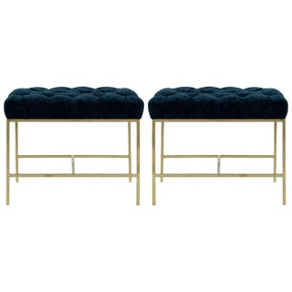 1950s Modern Tufted Brushed Brass Stools - a Pair For Sale