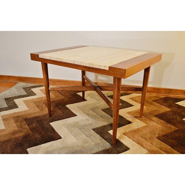 Mid Century Danish Style Italian Marble End Table - Image 2 of 7