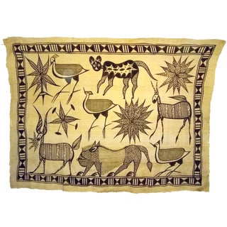 African Ivory Coast Korhogo Painting on Cloth For Sale