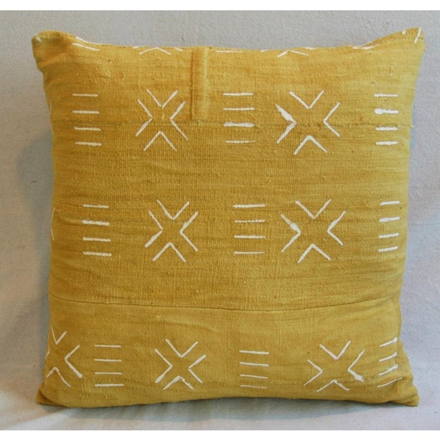 Handwoven Gold & Cream Tribal Feather & Down Pillow - Image 3 of 4