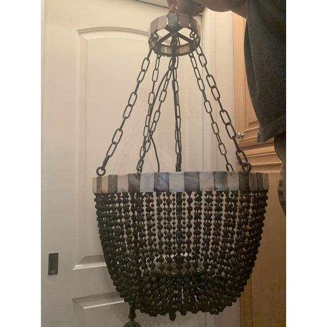 Contemporary Noir Grey Beaded Chandelier With Grey and White Shell Trim For Sale - Image 3 of 13