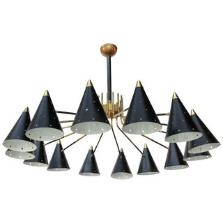 Midcentury Style Brass Chandelier With Black Perforated Shades For Sale