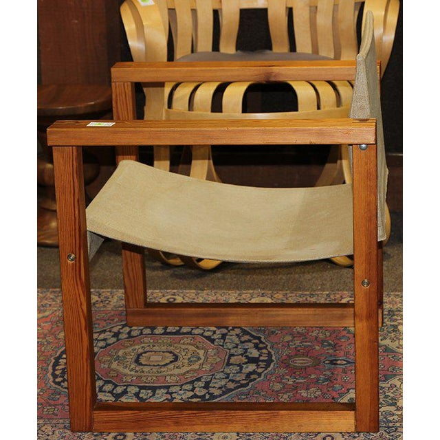 Mid-Century Modern 1970s Finland Modern Sling Chair With Oak Plank Arms For Sale - Image 3 of 5