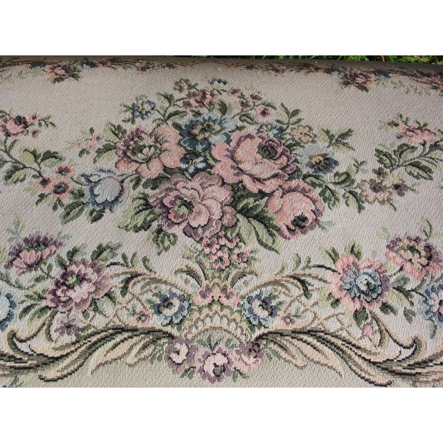 Vintage French Provincial Louis XV Style Tapestry Settee Chateau d'Ax Italy For Sale - Image 12 of 13
