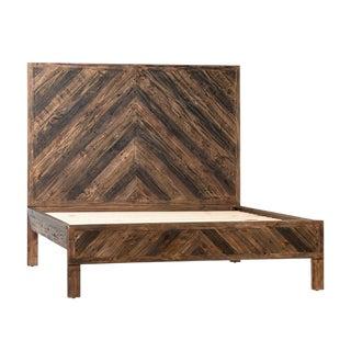 Rustic Modern Herringbone Queen Bed Frame For Sale
