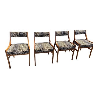Milo Baughman Dining Chairs With Leopard Print- Set of 4 For Sale