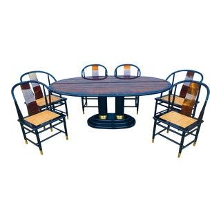 "1987 Art Deco Henredon ""Scene Three"" Dining Set - 9 Pieces For Sale"