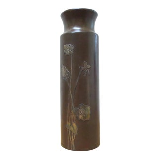 Antique SilverCrest Sterling on Bronze Daffodils Vase For Sale