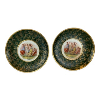 Green Austrian Chargers with a Classical Painting and Grape Leaf Pattern - a Pair For Sale
