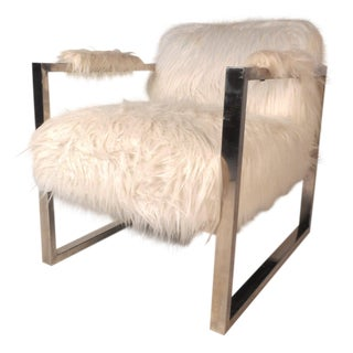 Contemporary Modern Fuzzy Chrome Lounge Chair For Sale