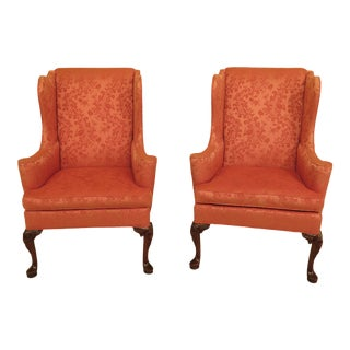 Modern Hickory Co Mahogany Wing Back Easy Chairs- A Pair For Sale