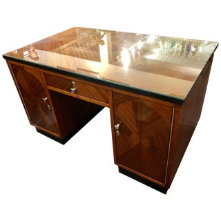 Art Deco Desk Classic Flamed Mahogany For Sale