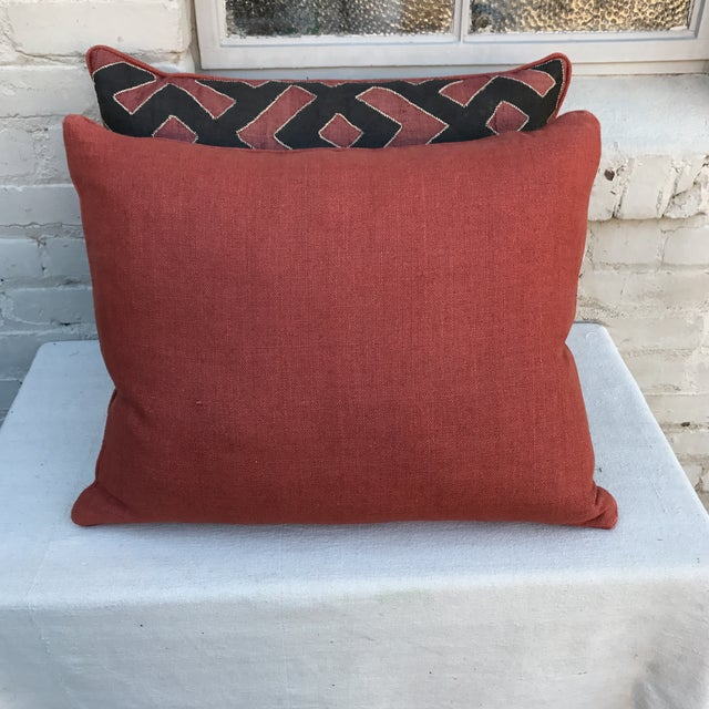 Black & Rust Kuba Cloth Pillows - A Pair For Sale In Los Angeles - Image 6 of 6