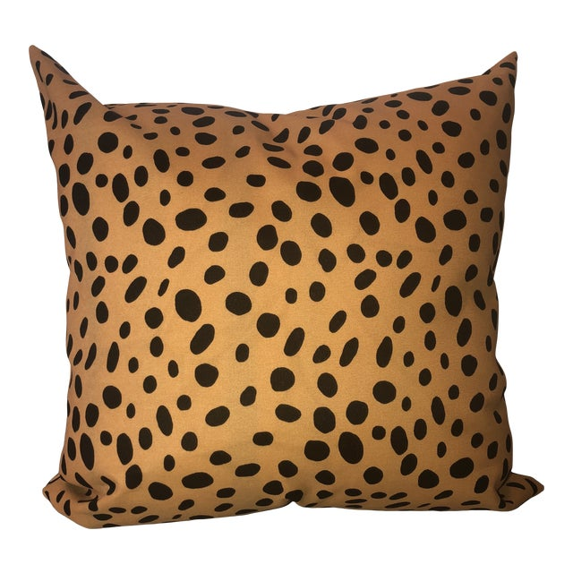 Contemporary Tan and Black Animal Printed Pillow For Sale