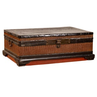 Chinese 1900s Wooden Treasure Chest With Rattan Accents and Dark Brass Hardware For Sale