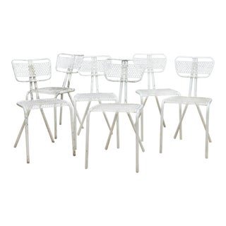 Set of Six French Industrial Bistro Chairs in Manner of Prouve For Sale