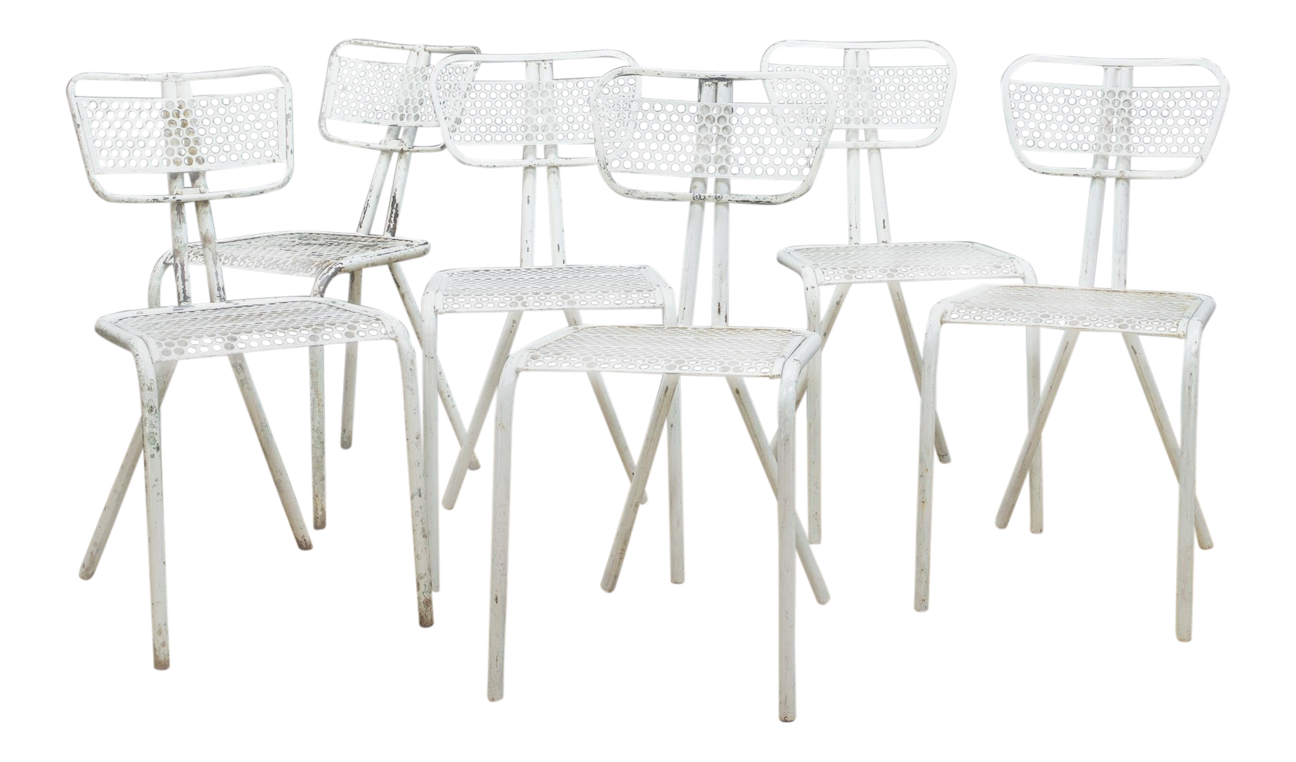 Set Of Six French Industrial Bistro Chairs In Manner Of Prouve | Chairish