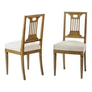 Andre Arbus Style Neo Classical Pair of Oak Chairs For Sale