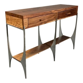 Richard Vellosso Walnut & Steel Console Table, Usa For Sale