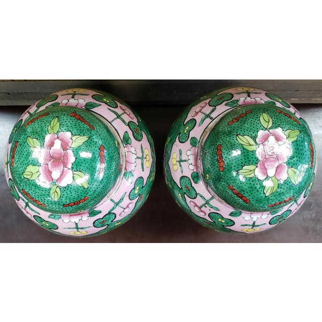 Late 19th Century C. 1880 Chinese Famille Verte Porcelain Enameled Floral/Dragon Motif Ginger Jars - a Pair For Sale - Image 5 of 9