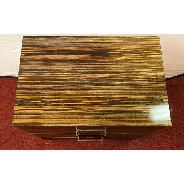 Wood Hollywood Regency Style Zebra Wood End Tables / Nightstands or Chests, a Pair For Sale - Image 7 of 11