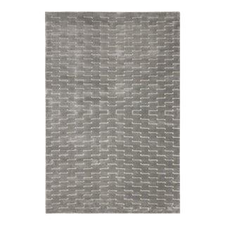 Loom Arya Fia Silver & Light Gray Bamboo Silk Rug - 3'11 X 6'0 For Sale